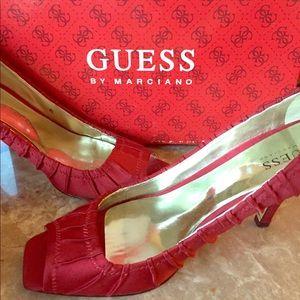 Mildly worn Guess satin peep toe stiletto heel